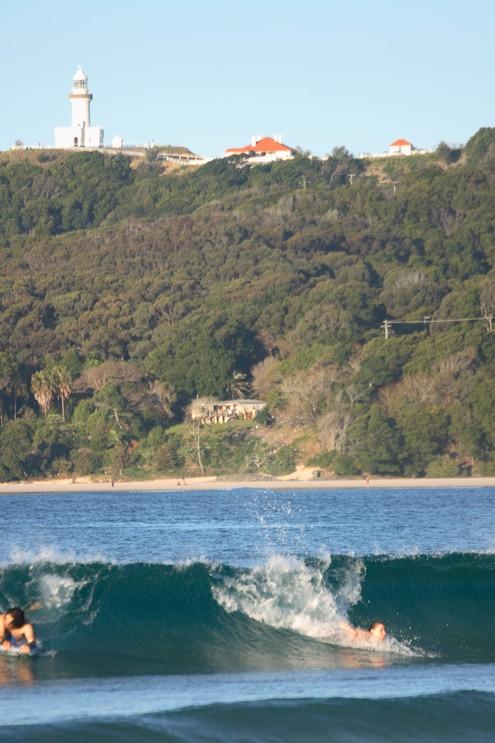 Surfing in Bryon Bay