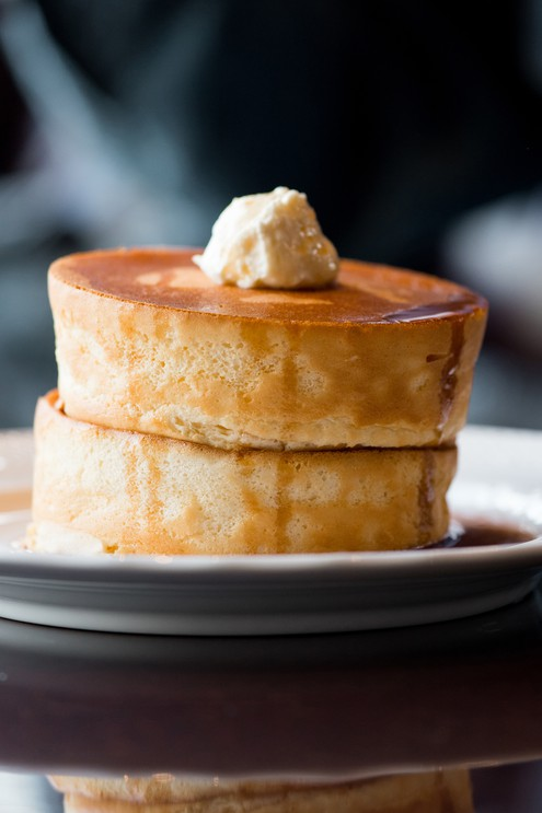 Two stacks of soft pancakes in Japan