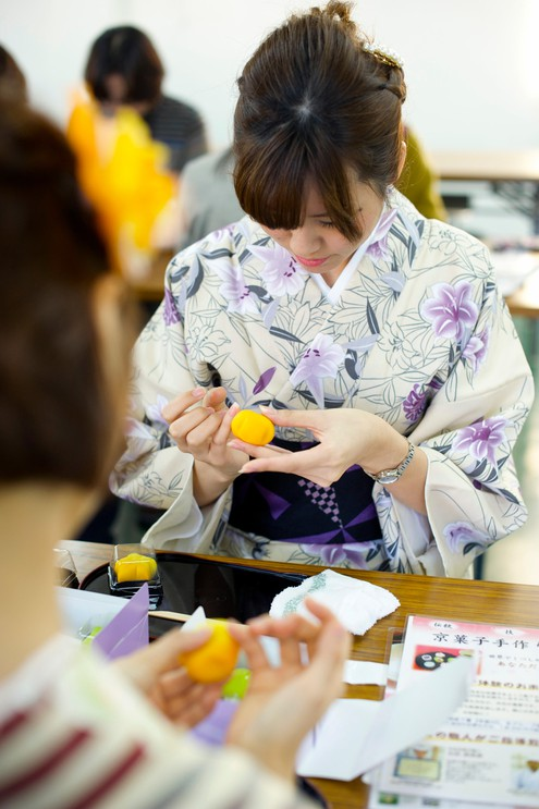 Visitors try their hand at making Kyoto wagashi sweets in Japan