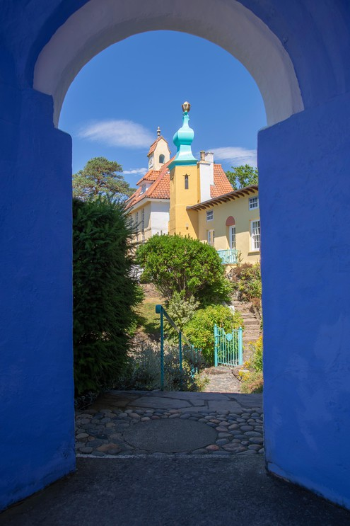 Italian style building and archway at Portmeirion, Wales
