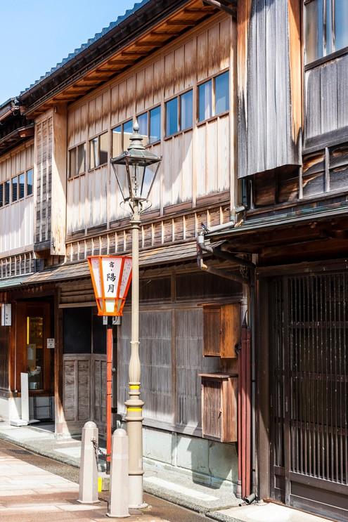 Edo period street in Higashi Chaya district of Kanazawa, Japan.