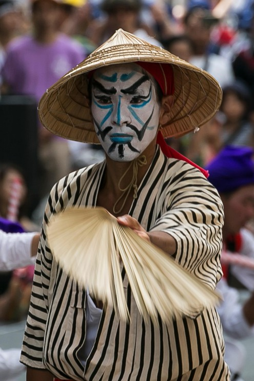 Eisa dancer performs during the Shinjuku Eisa Festival