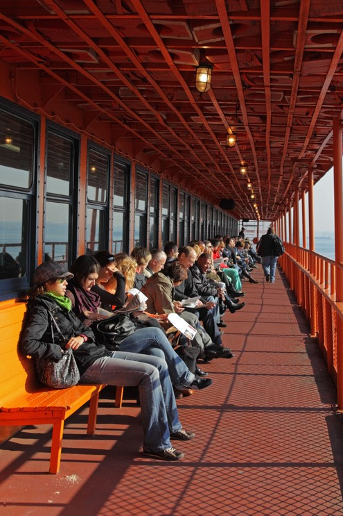 Passengers on a ferry from New York City