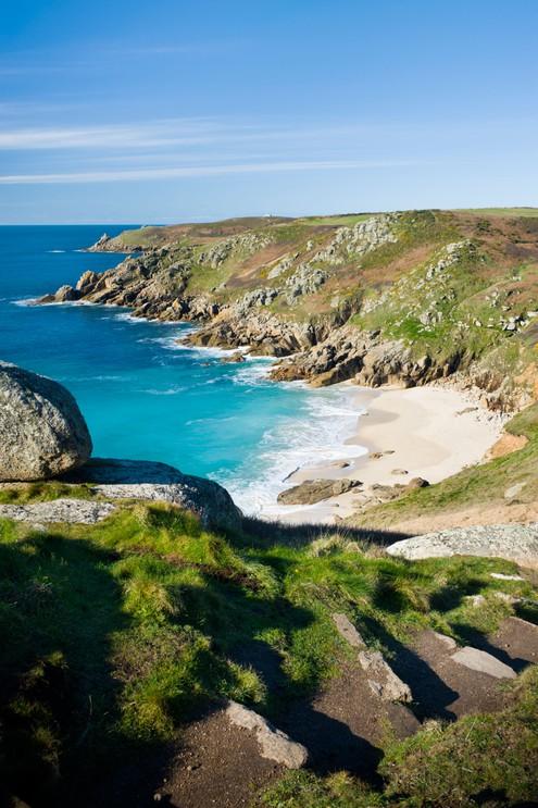 Porth Chapel beach, near Porthcurno, Cornwall, England.