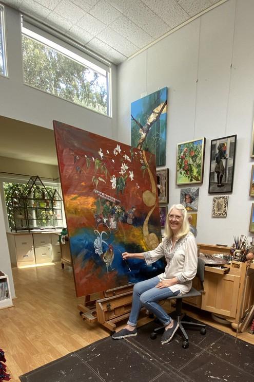 Santa Barbara Open Studios_Pamela Larsson-Toscher in studio