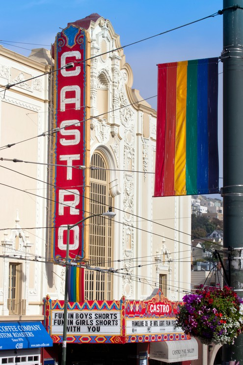 Gay Pride Rainbow Flag Flying in the Wind Over the Castro, San Francisco, California