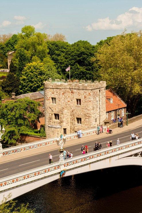 Elevated view of Lendal Bridge, Lendal Tower and River Ouse.