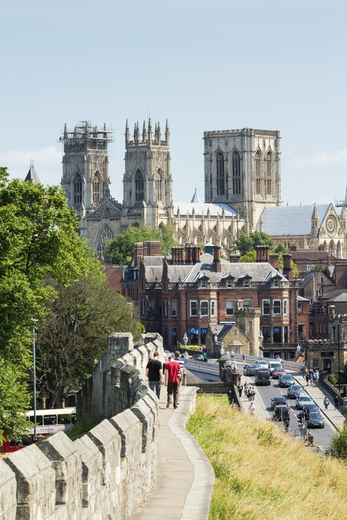 View of York Minster from city wall. York, Yorkshire, UK