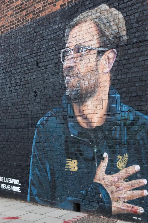 Jurgen Klopp, Liverpool FC Manager by street artist Akse, Jamaica Street, Liverpool, UK