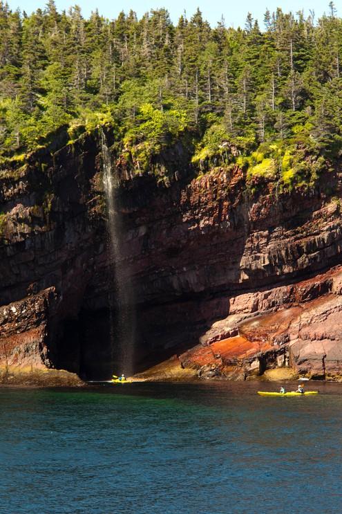 Sea Kayaking along coastal cliffs,  Witless Bay Ecological Reserve, Newfoundland, Canada