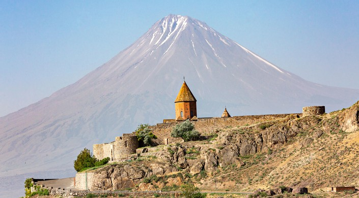 Khor Virap Monastery with Mt Ararat in the background in Armenia