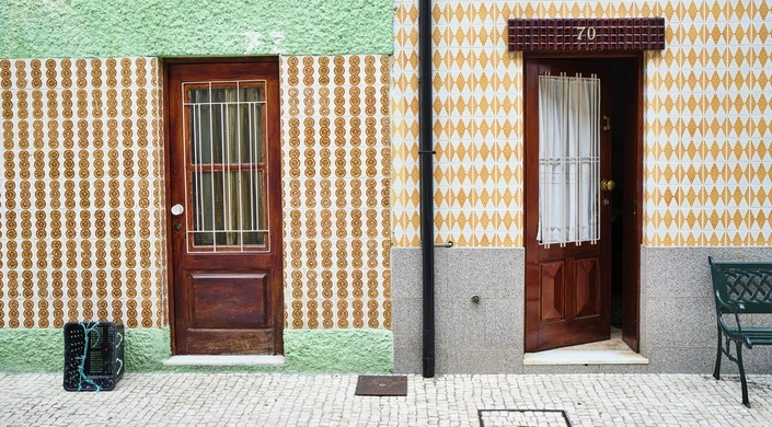 Two traditional houses in Afurada, Porto, Portugal