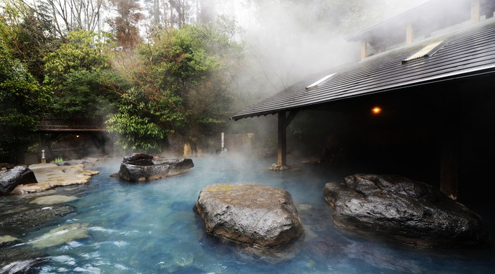The beautiful yamabiko rotenburo in Kurokawa onsen
