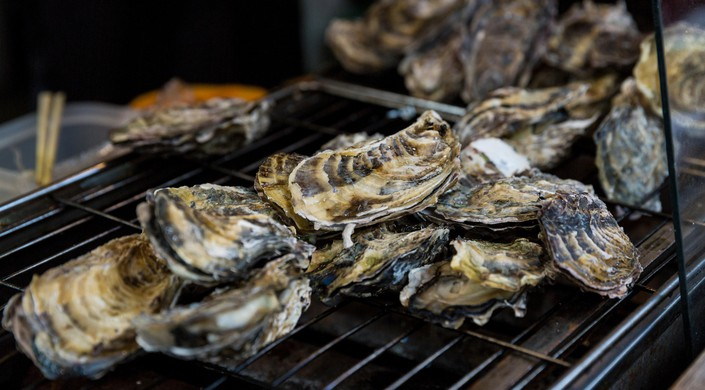 Oysters on a grill in Hiroshima Prefecture, Japan.