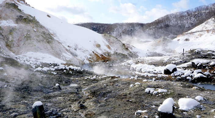 Noboribetsu onsen and stream snow winter national park in Jigokudani, Hokkaido, Japan