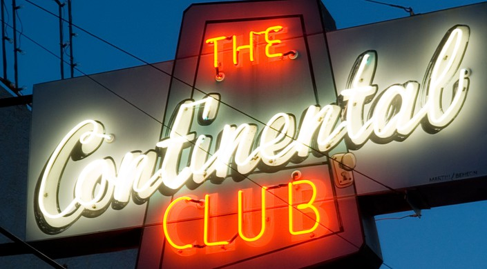 Horizontal view of the neon sign for the Continental Club in Austin TX.