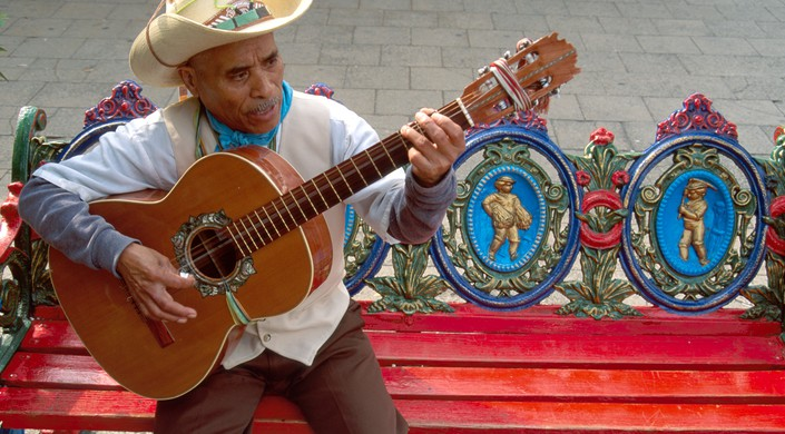 Texas, Lone Star State, The Southwest, Bexar County, San Antonio, Market Square, El Mercado troubadour, ornate bench by La Marg, Road, arita, restaura