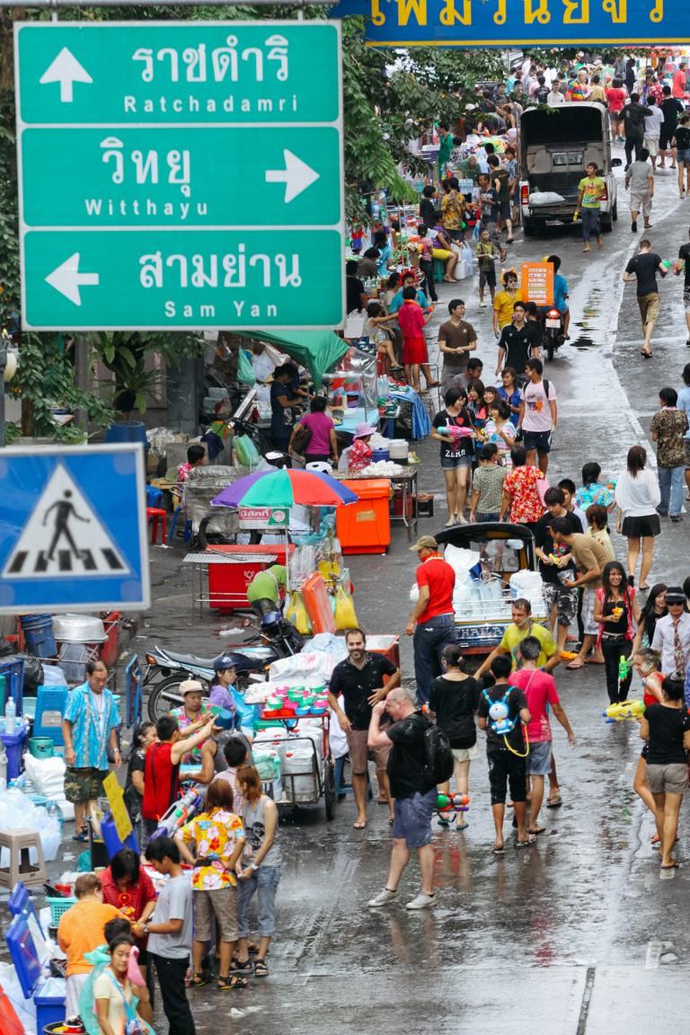 BEFORE WATER FIGHT-THAI NEW YEAR-SONGKRAN-BANGKOK-THAILAND