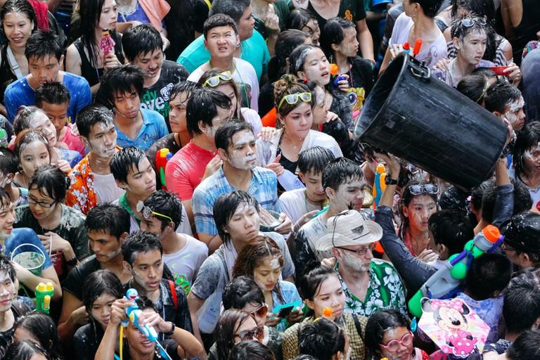 DURING WATER FIGHT-THAI NEW YEAR-SONGKRAN-BANGKOK-THAILAND