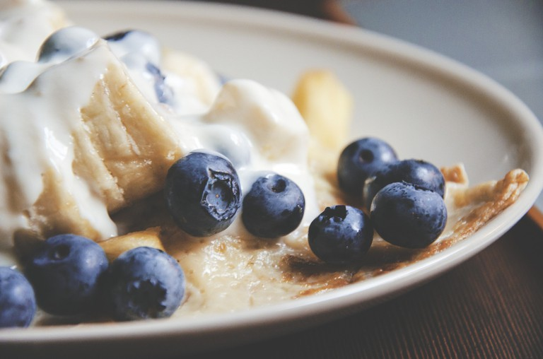 American style pancakes with blueberries © Pixabay