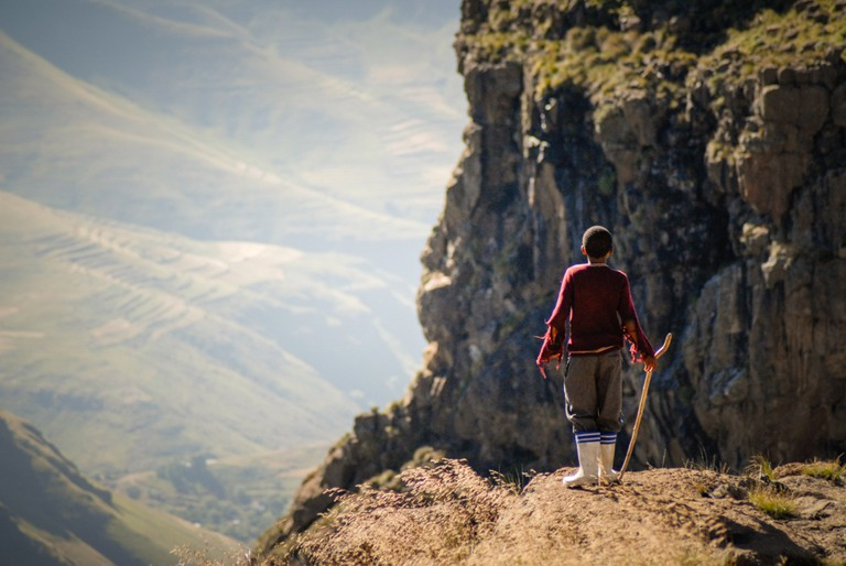 Lebohang Ntsane during the filming of The Forgotten Kingdom in Lesotho | © Meri Hyöky Photography.