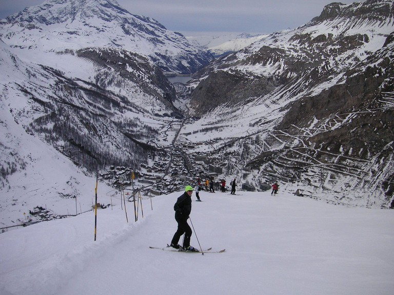 Skiing Down to Val d'Isere