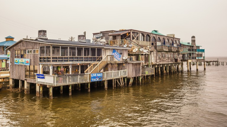 Waterfront buildings on stilts in the historic downtown Cedar Key