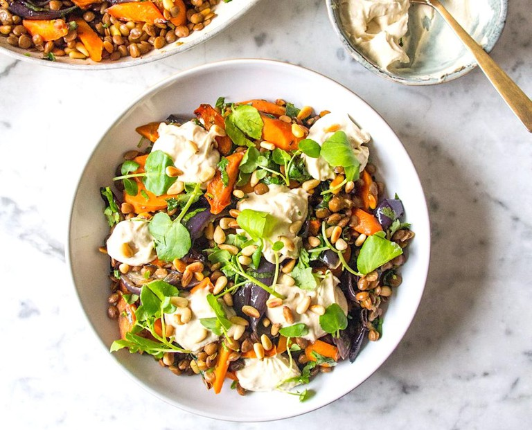 Warm cumin, roasted carrot, red onion and lentil salad | © Deliciously Ella -carrot-red-onion-and-lentil-salad
