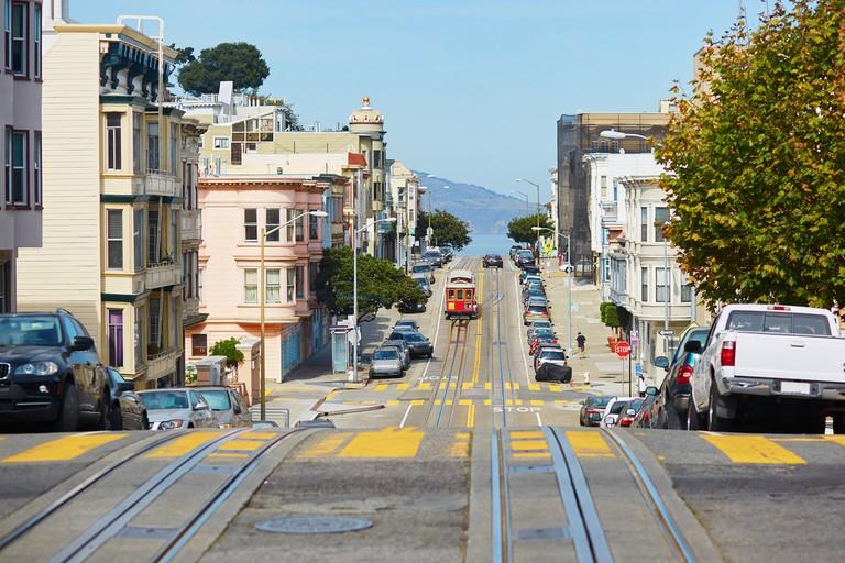 Cable car in San Francisco, California, USA