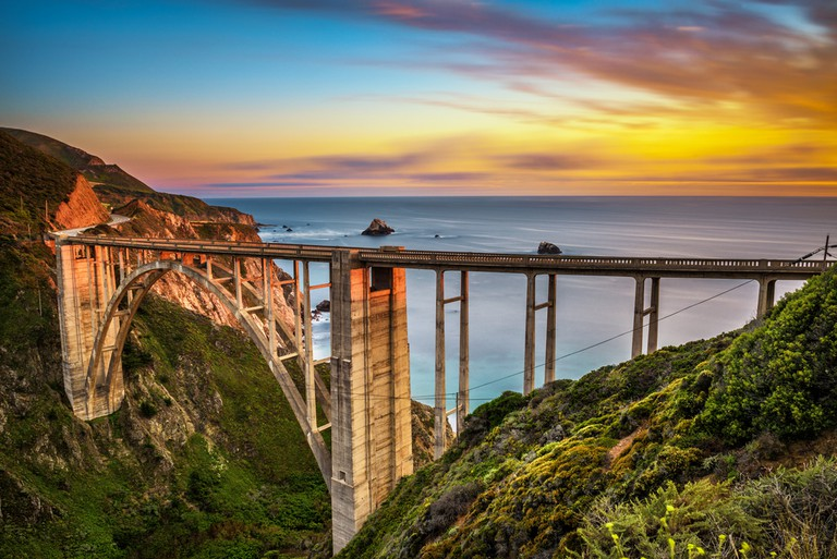 Bixby Bridge (Rocky Creek Bridge) and Pacific Coast Highway at Sunset