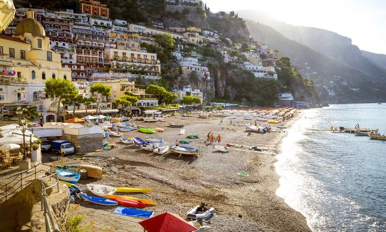 The thriving coastal beach town of Positano, Italy