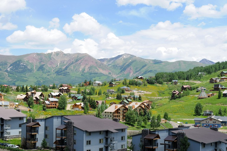 Crested Butte - Mountain Resort - Overview of part of Crested Butte resort section, Colorado, USA