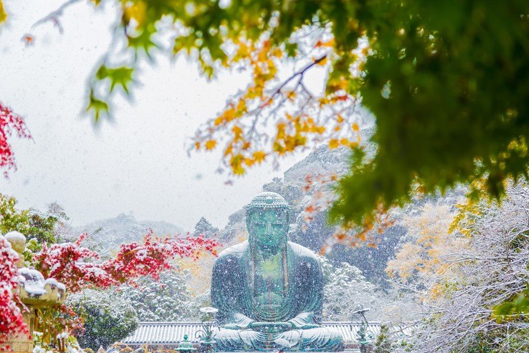 Kamakura's Great Buddha covered in snow during the winter