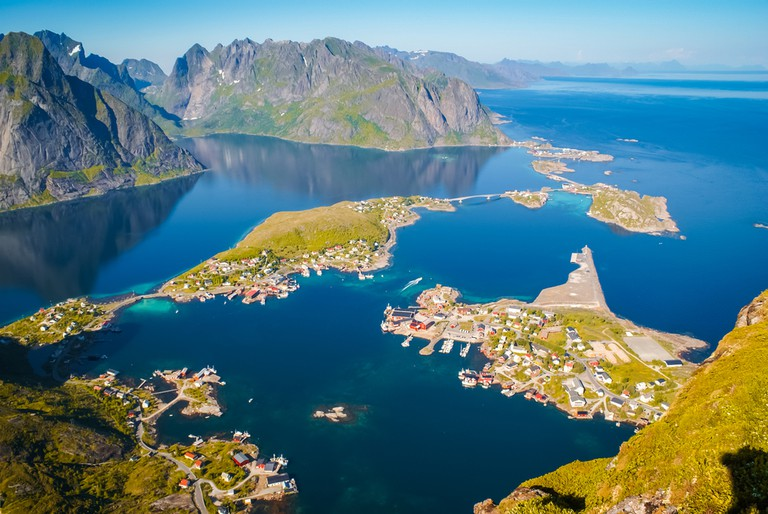 Scenic aerial view of countryside and sea from Mount Reinebringen on Lofoten islands in Norway ©Michal Knitl / Shutterstock