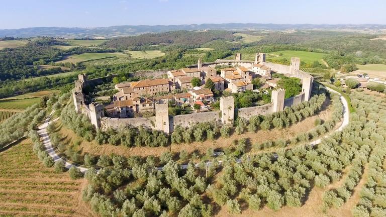Aeriel view of Monteriggioni, Italy