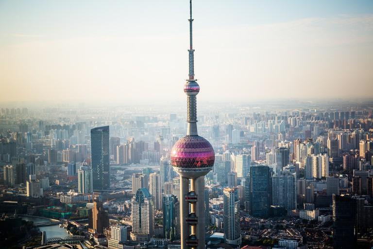 Shanghai skyline in sunrise, landscape of city ©ssguy