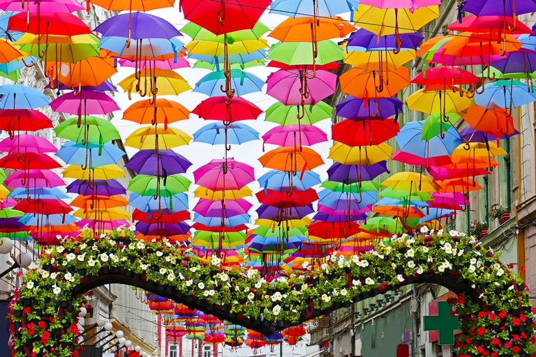 Hundreds of umbrellas hanging over the streets of Timisoara, Romania ©  Ioan Florin Cnejevici / Shutterstock