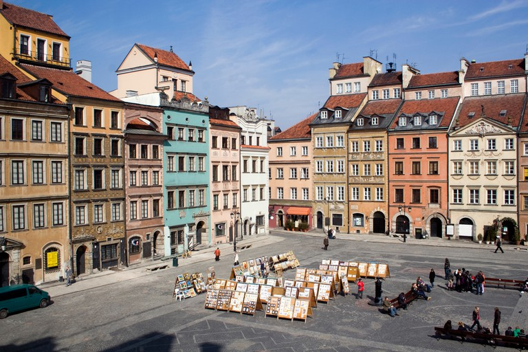Center of Warsaw's Old Town on a beautiful sunny day