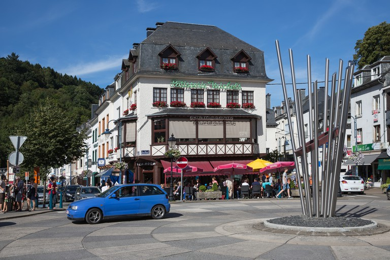 Belgian medieval city along river Semois in Ardennes with tourists relaxing in the centre of the city in Bouillon, Belgium ©T.W. van Urk / Shutterstock
