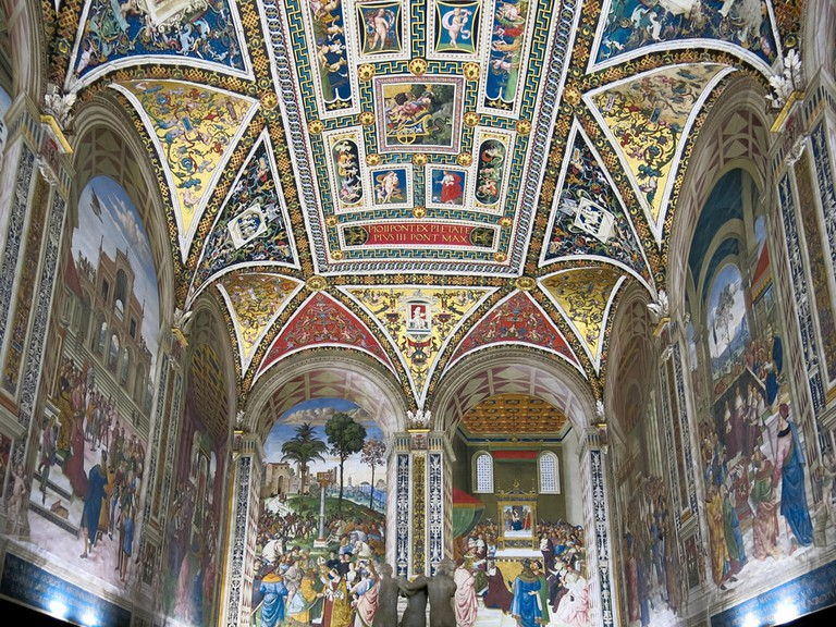 Piccolomini Library with frescoes by Umbrian Bernardino di Betto in Duomo di Siena or Siena Cathedral in Siena, Tuscany, Italy