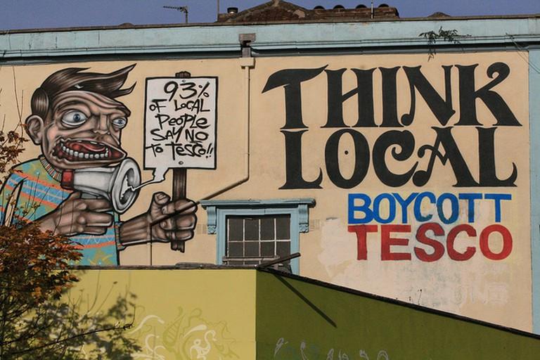 Boycott Tesco graffiti   © KylaBord/Flickr