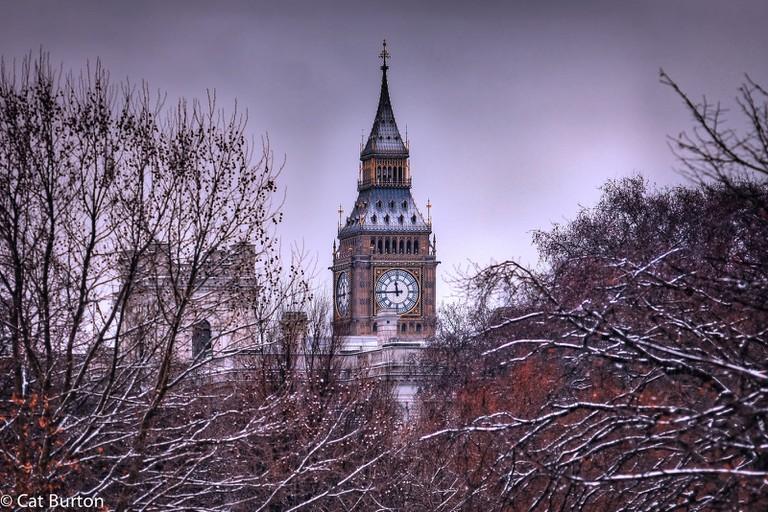Big Ben peeping through snowy trees | © Cat Burton / Flickr
