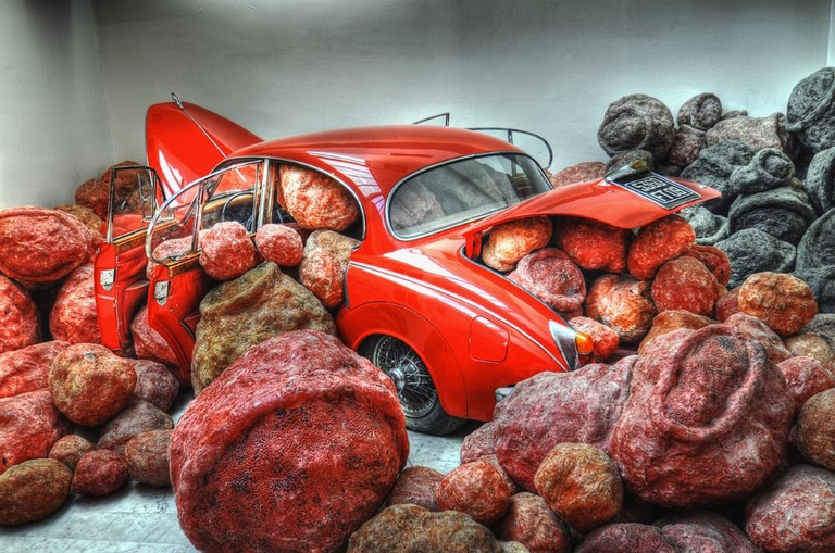 """""""La Voiture Rouge"""" (""""The Red Car"""") by Jean-Luc Parant at the Musée d'Art Contemporain in Marseille on permanent exhibition"""
