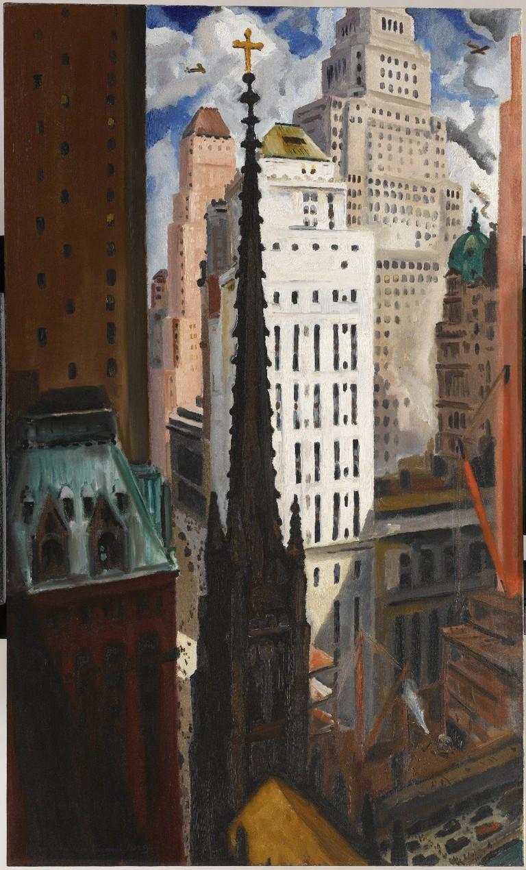 Bertram Hartman, Trinity Church and Wall Street, 1929 | © Brooklyn Museum, John B. Woodward Memorial Fund