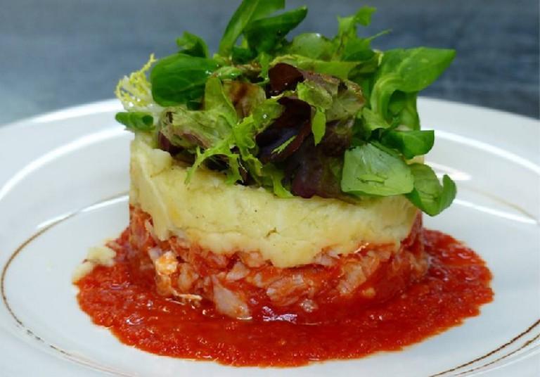 A codfish and tomato parmentier   Courtesy of La Petite Gironde