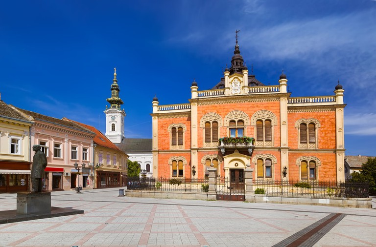Jovan Jovanovicć Zmaj stands in front of the Bishop's Palace | © Tatiana Popova/shutterstock