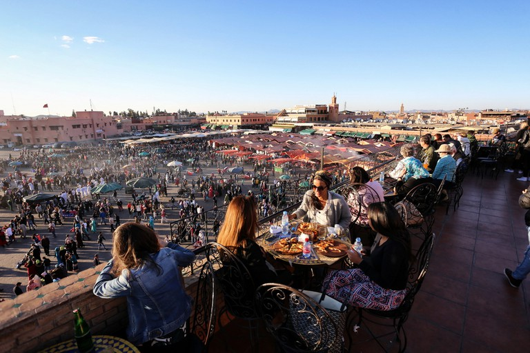 Coffee break at sunset over Jemaa el Fna Square