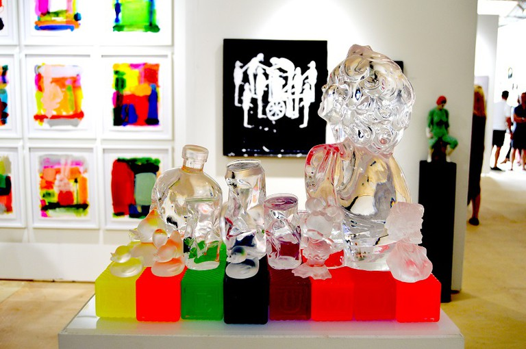 "Sam Tufnell ""American Plastic"" 2015, Cast acrylic resin, light up pedestal 