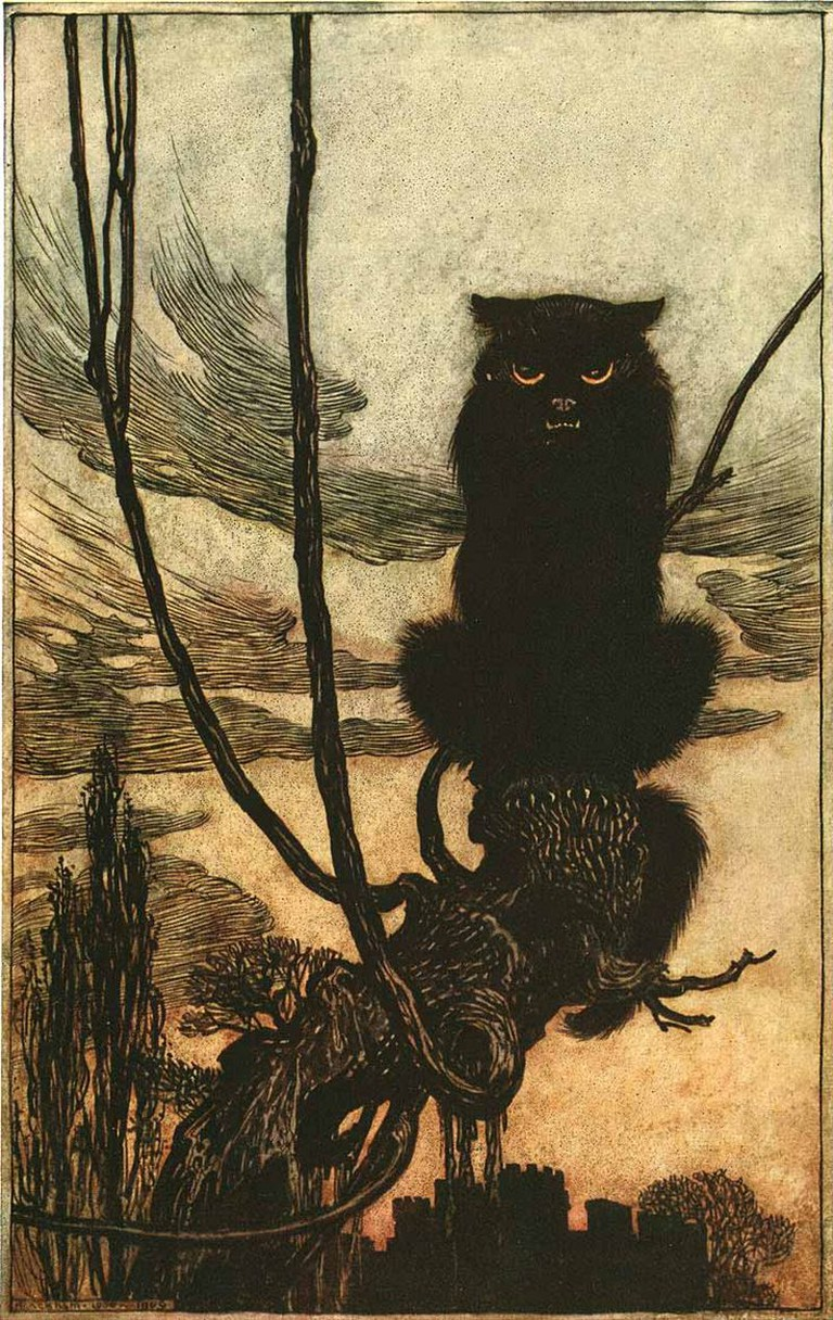 By Day She Made Herself Into A Cat, Arthur Rackham
