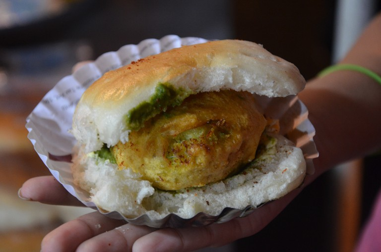 The very buttery, loaded with chutney vada pav outside mithibai college; Picture Credits: Sucheta Thakur